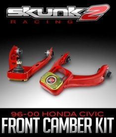 The Pro Stance Camber Kit from Skunk2 Racing features upper control arms with modified cage angles and outward mounted mounting points for decreased stress on the ball joints. This will help improve the lift of the ball joints in lowered cars. All of the control arms are powder coated in a red finish for long term durability. Features: Cage angle decreased 6 degrees for improved ball joint life Zinc plated components Powder-coated red finish Application: 1996–2000 Honda Civic Part Number: 516-05-5780, Skunk2 Pro Stance 96-00 Honda Civic (EK Chassis) Front Camber Kit