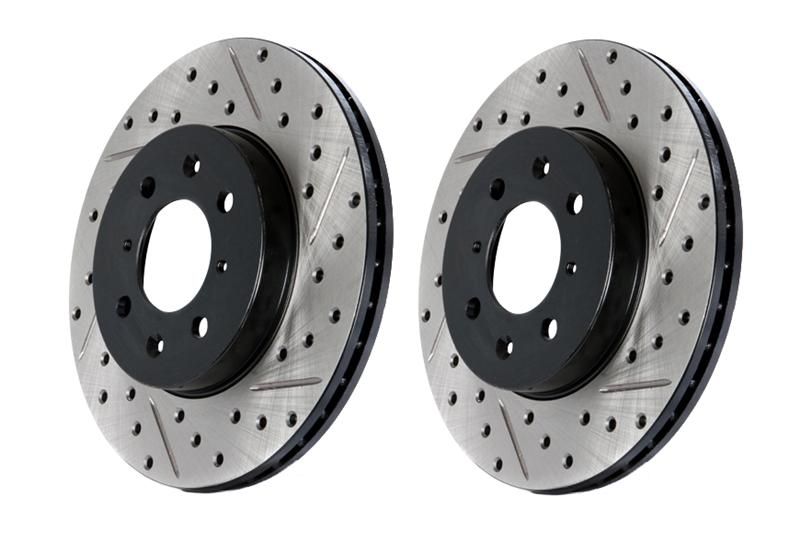 Right StopTech 127.62132R Sport Drilled and Slotted Rotor
